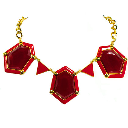 Red Stone Necklace Set - Model: 299 HNE1379