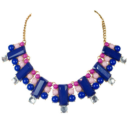 Blue Purple Pink Beaded White Crystaled Gold Necklace