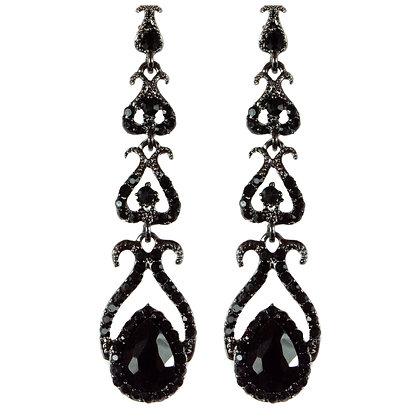 Black Stoned Drop Earrings