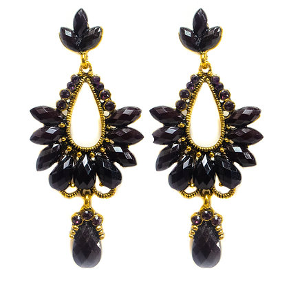 Dark Purple Beaded Gold Earrings - TROY 100 DPB