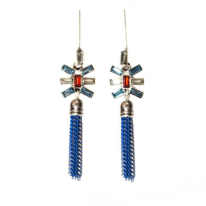 Red Blue Stoned Metal Tassel Earrings - Model: 720 ER1725