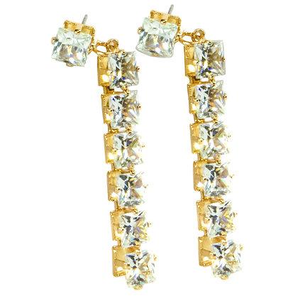 Gold Seven Crystal Earrings