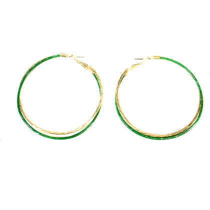 Gold and Green Hoop Earrings - Model: 2 SAE4570