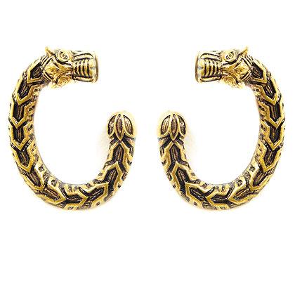 Gold Swirling Dragon Earrings - TROY GSD