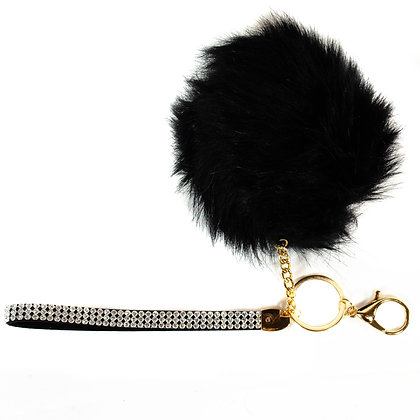 Blingy Strapped Black Fluffy Key Chain - Model: T3374