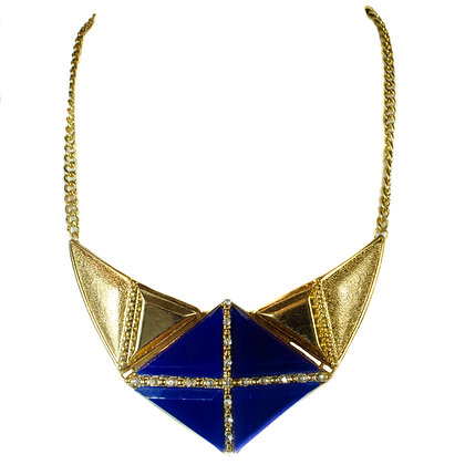 Gold Blue Triangle Necklace