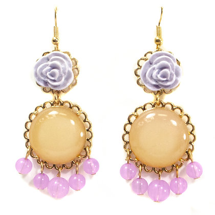 Purple Orange Pink Stoned Earring - TROY 100 POP
