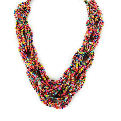 Multi Colored Beaded Necklace Set
