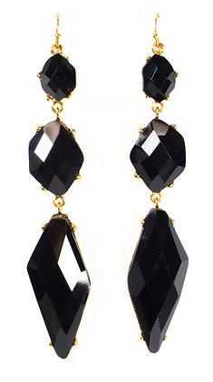 Black Straightened Stone Earrings - Model: 2 DDE7340