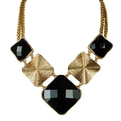 Black Stoned Gold Plated Necklace Set - 2 SAS9921