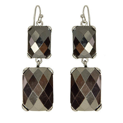 Silver Checkered Earrings
