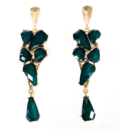 Green Stoned Gold Framed Earrings - Model: 2 DVE7382