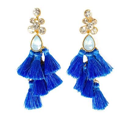 Light Blue Stoned and Tasseled Crystal Earrings - Model: TROY 100