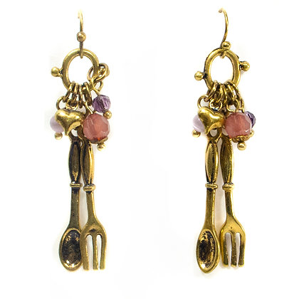 Purple Beaded Gold Fork and Spoon Earrings - 699 NE6031