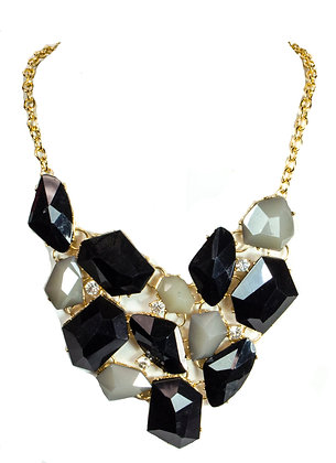 Black and White Necklace Set - Model: 299-RNE2194