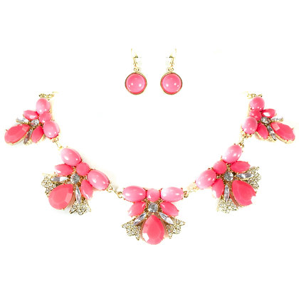Pink Stoned Crystal Necklace Set - Model: TROY 168 S3264