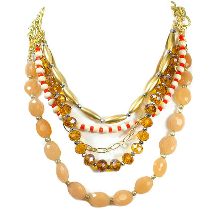 Coral Stoned Orange White Beaded Necklace - Model: 256 H7528