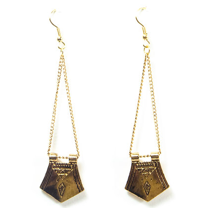 Gold Hanging Shield Earrings - 342 SQ4005