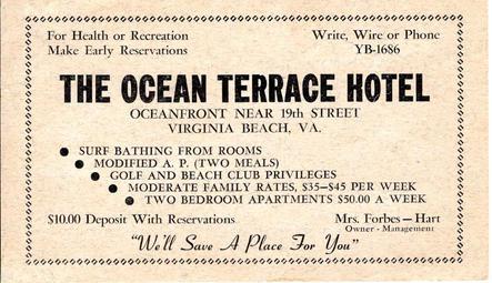Ocean Terrrace Hotel 1953