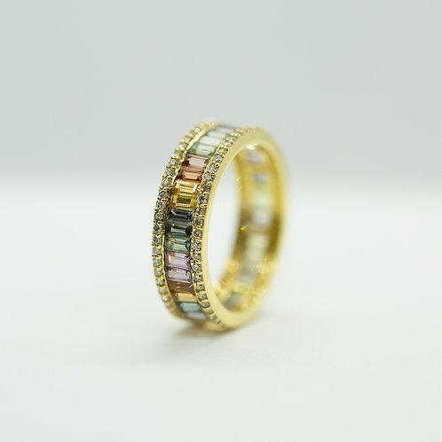 Pastel Sapphire & Diamond Ring - SIZE 7