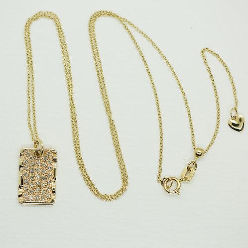 Mini Diamond Dog Tag Necklace