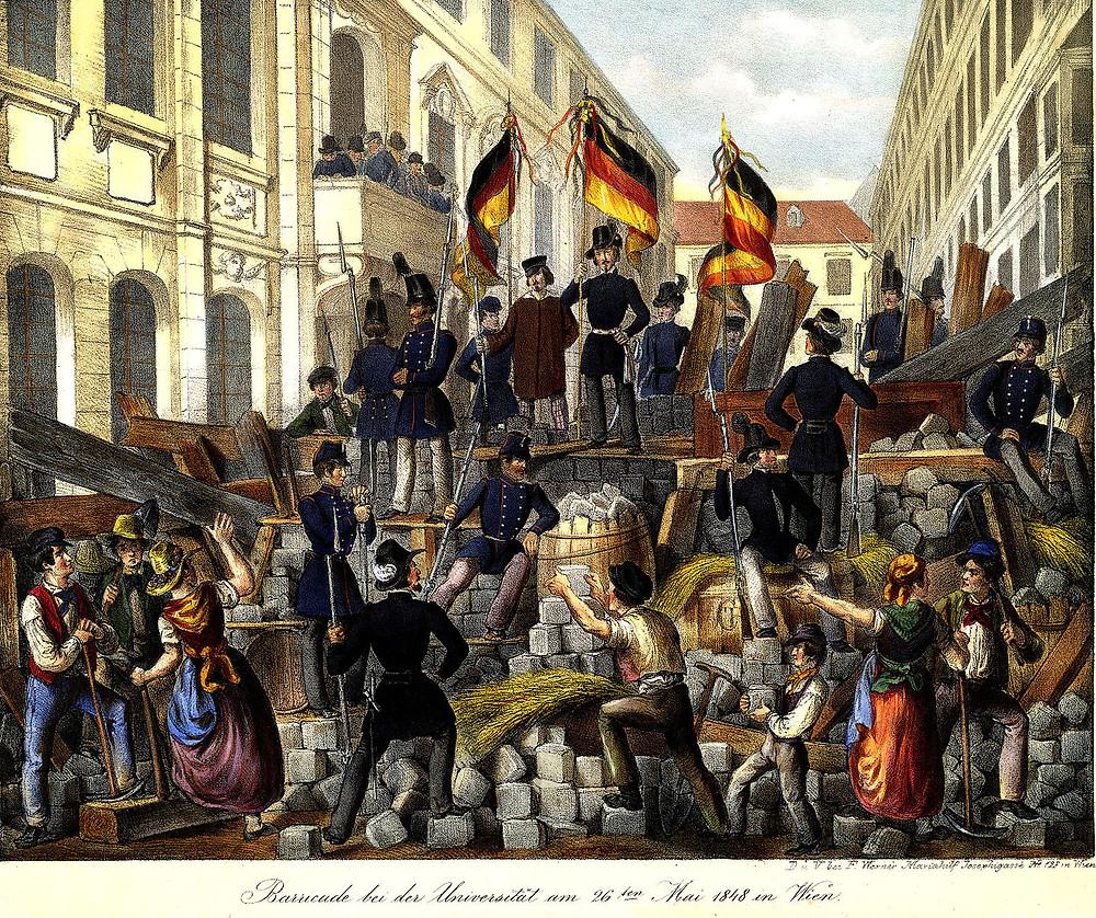Barricades of the revolutionaries in Vienna