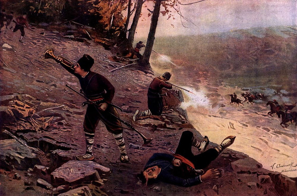 A contemporary painting depicting Bulgarians fighting the Ottomans