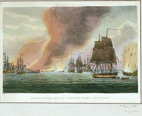 The destruction of the Ottoman Fleet by the British near Alexandria