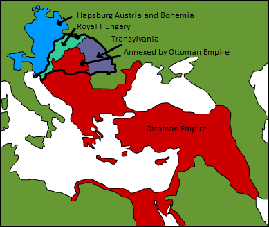 A map depicting the division of land in the years following the Hungarian defeat at Mohacs