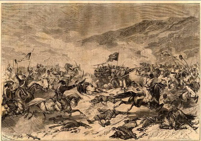 A depiction of fighting between the Serbs and Ottomans