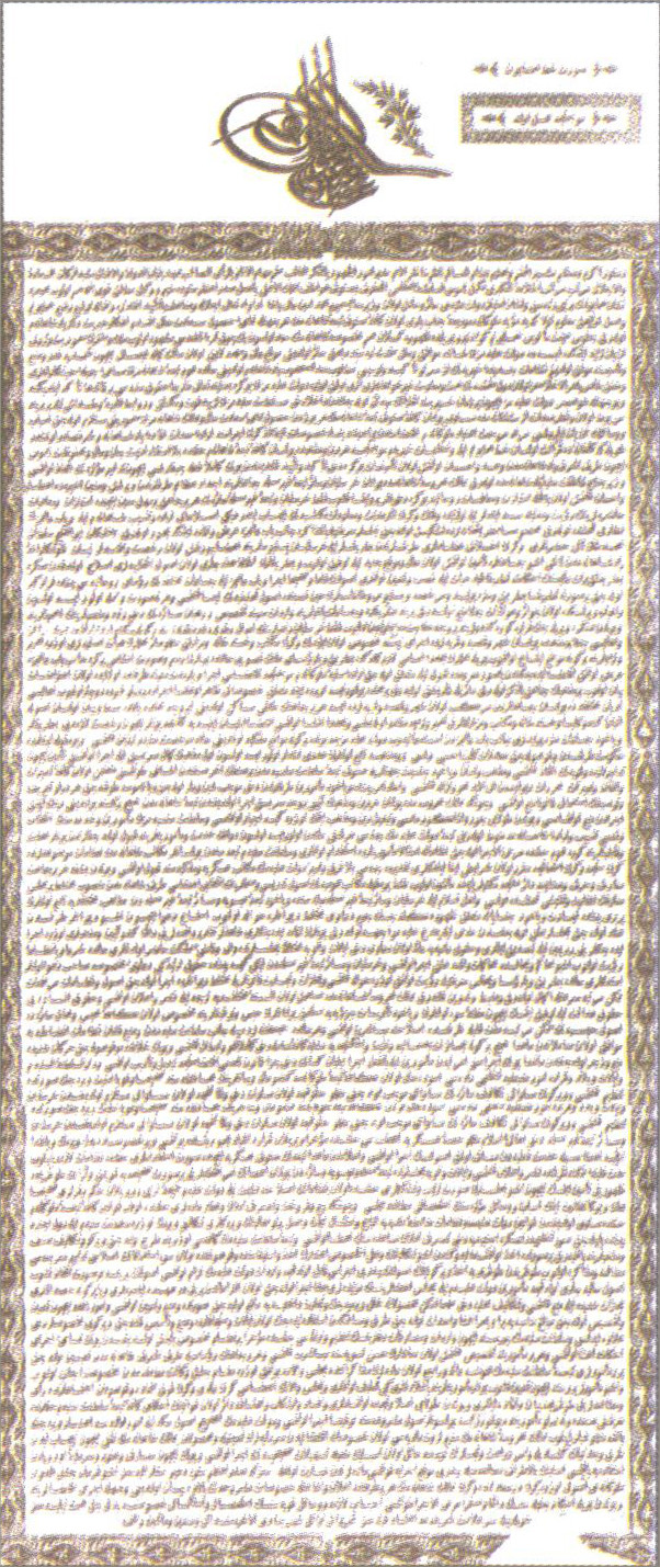 The Gülhane Hatt-ı Şerif or Tanzimât Fermânı, proclaiming new reforms in the Ottoman Empire