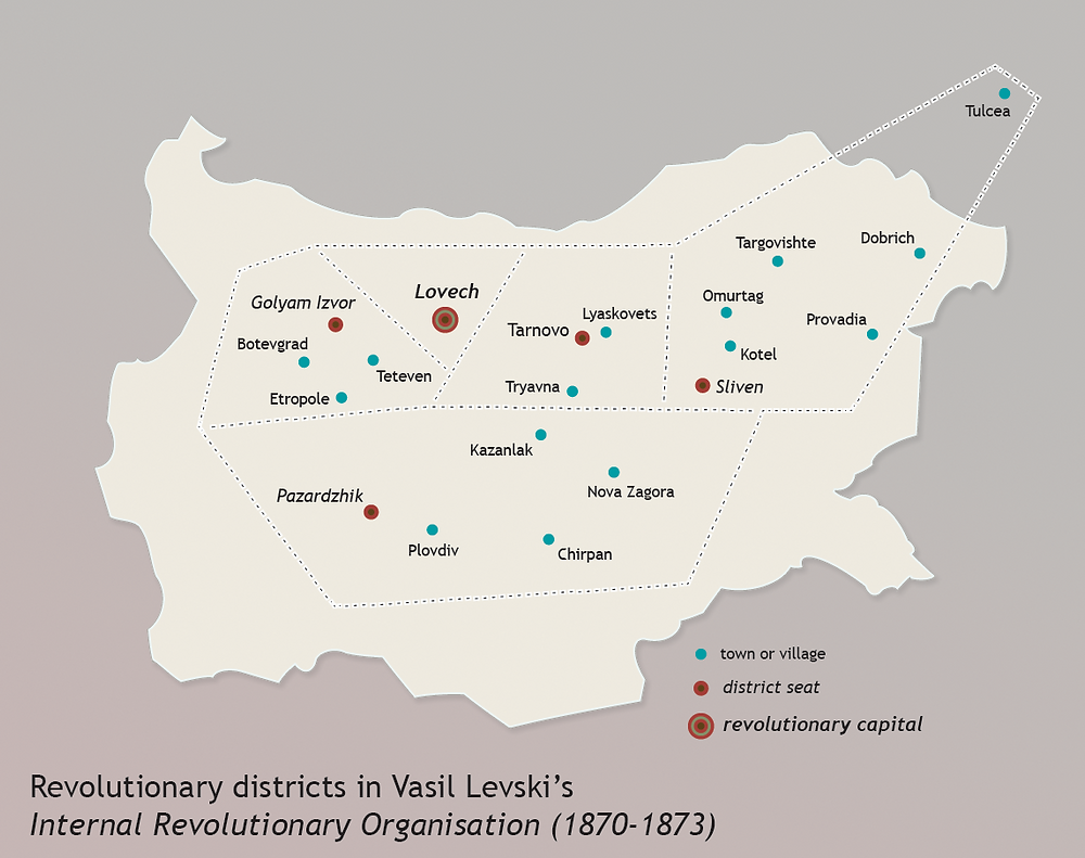 A map of Levski's BRCC revolutionary districts and the main committees within Bulgaria