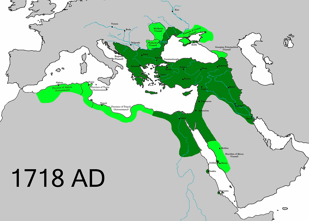 The larger Ottoman Empire in 1718, following the Treaty of Passarowitz