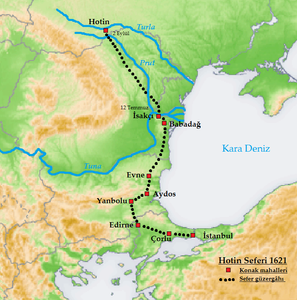 The path of the Ottoman Army towards the 1620 Battle of Khotyn