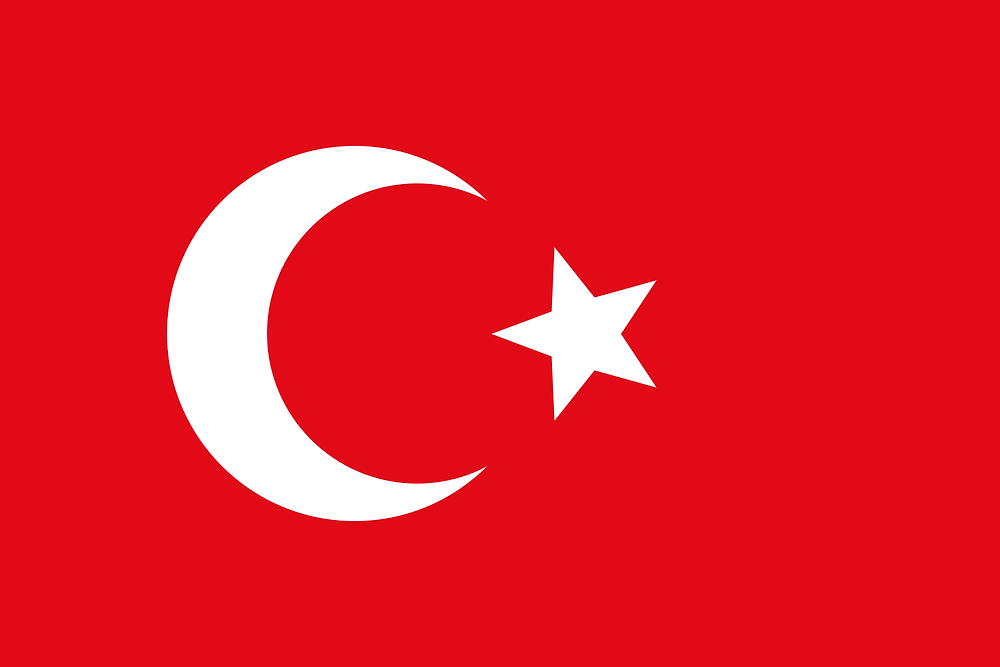 The Ottoman flag officially adopted in 1844