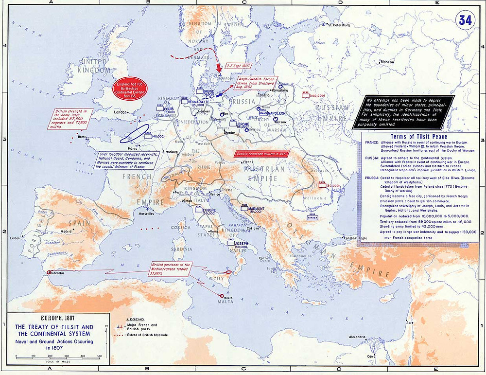 Europe in 1807 after the Treaty of Tilsit