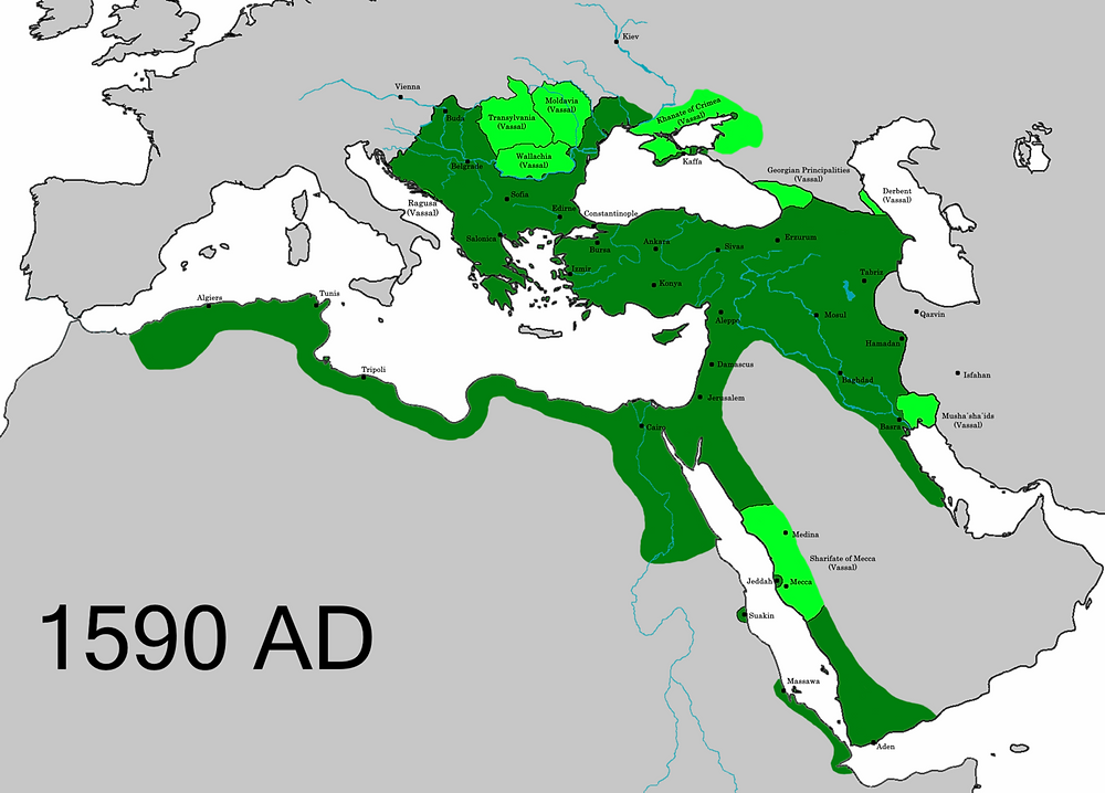 The Ottoman Empire before territorial losses to the Safavids