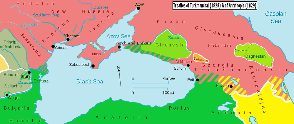 The territorial changes following the Treaty of Adrianople