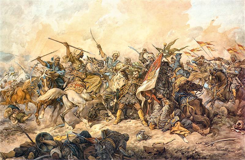 Poles defending their banner at the The path of the Ottoman Army towards the 1620 Battle of Khotyn