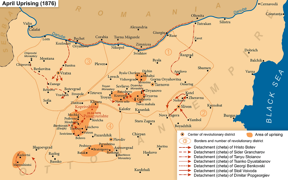 A map showing the major actions of the April Uprising