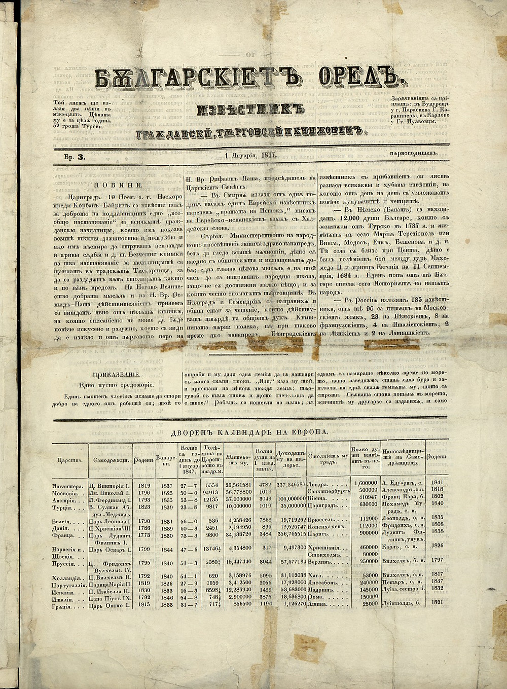 """The cover of """"Bulgarian Eagle,"""" the first Bulgarian newspaper, published in Leipzig"""