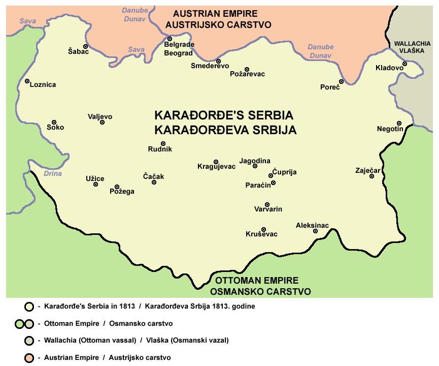 Serbian territory in 1813
