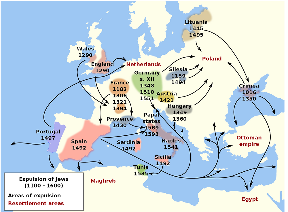 A map showing where successive waves of Jews expelled from their homes travelled to over the centuries