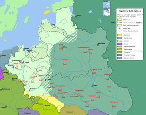 "The borders of the Polish Lithuanian Commonwealth after ""The Deluge"""
