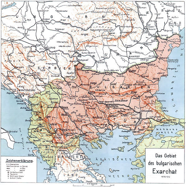 A map of the Bulgarian Exarchate after Skopje and Ohrid voted to join