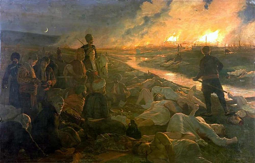 A painting depicting the Batak Massacre