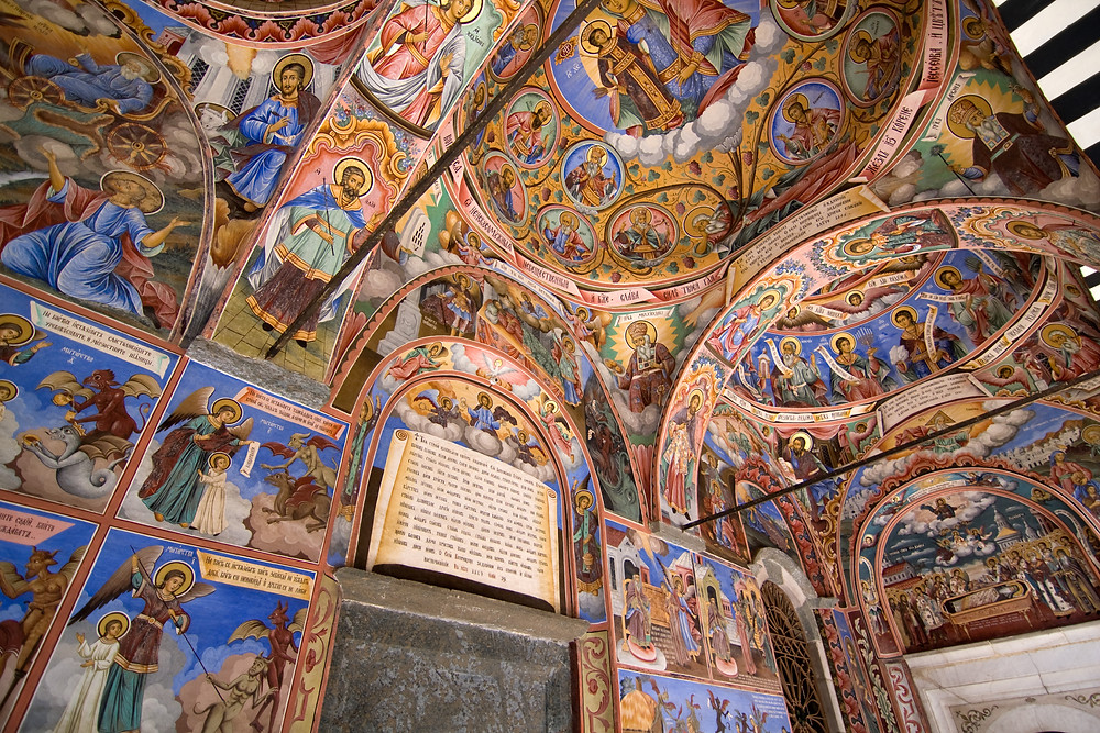 Artwork in the Rila Monastery painted after the 1833 fire