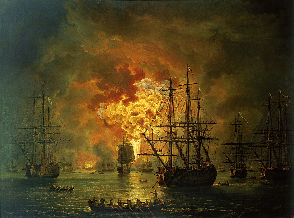 The destruction of the Ottoman navy at the Battle of Chesma