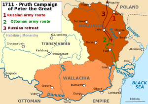 A map of the Pruth River Campaign undertaken by Peter the Great against the Ottomans