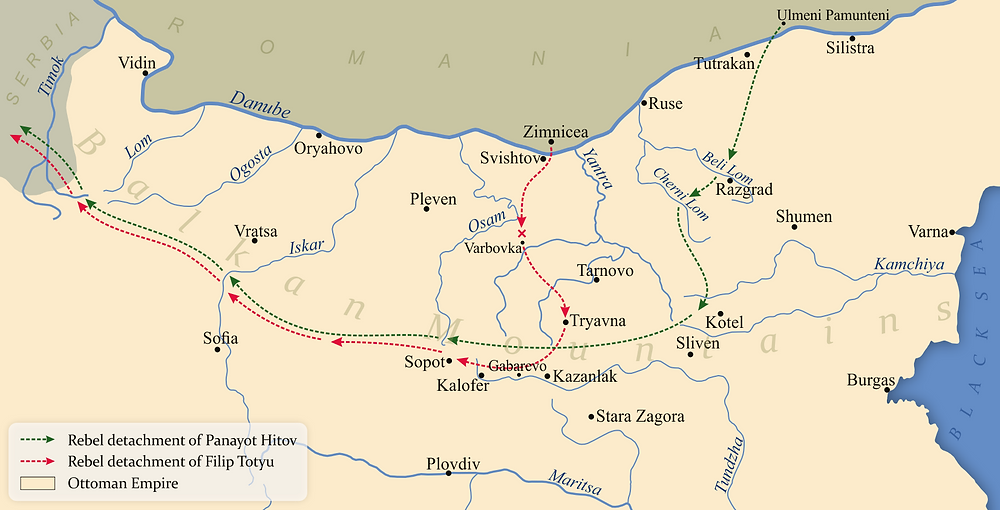 A map showing the actions of the rebel detachments of Panayot Hitov and Filip Totyu in 1867.